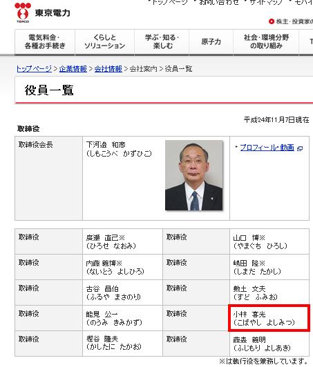 役員一覧|企業情報|東京電力