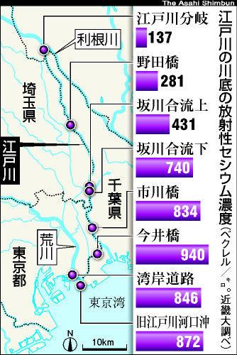 セシウム濃度、江戸川下流ほど高く