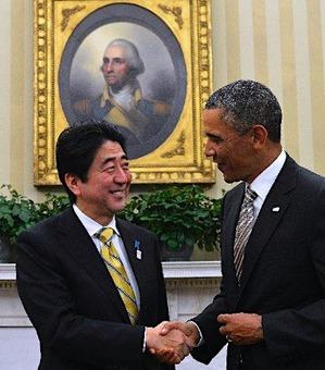 オバマ大統領と安倍首相の握手