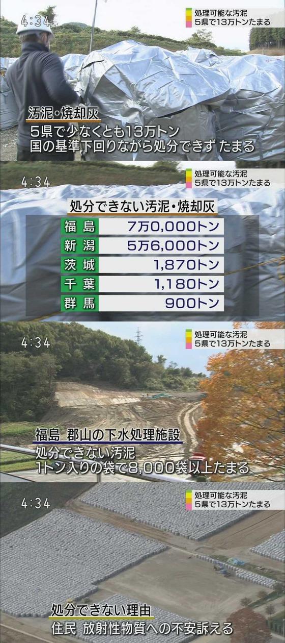 処理可能な汚泥 5県に13万トン滞留