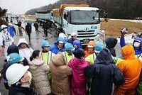 がれき焼却灰の搬入阻む 富山・池多地区住民ら