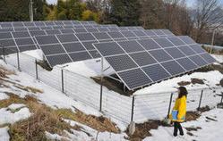 駐車場に設置された太陽光パネル=伊那市西春近の中央道伊那スキーリゾートで