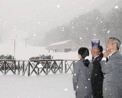 雪が降るゲレンデ。1メートルほど積もれば営業を始める=南砺市利賀村上百瀬で