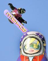 ソチ五輪の新種目、スノーボード・スロープスタイル男子予選で高く舞う角野友基=共同