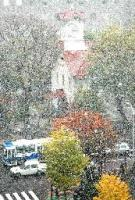 平年よりも13日遅く、初雪が観測された札幌市の時計台=9日午前9時15分