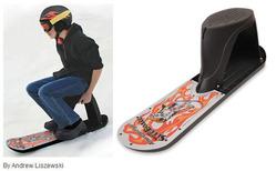 スリル満点!! 座って滑れるスノーボード