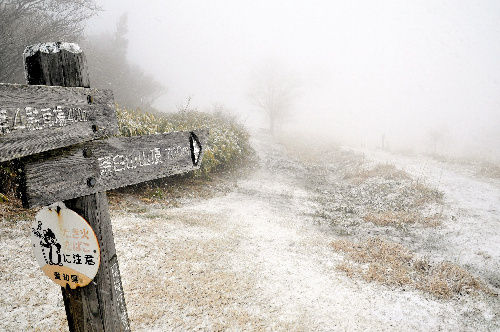 うっすらと雪が積もった茶臼山高原=25日、愛知県豊根村の同高原、佐藤泰三さん撮影