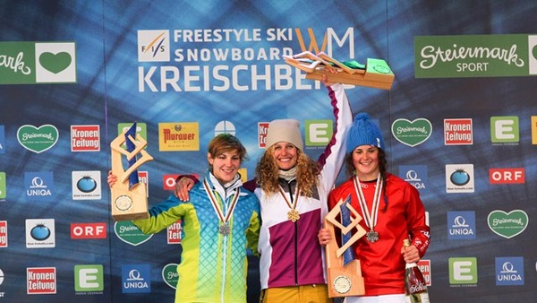 Women's SBX podium at Kreischberg WCS with 2nd Nelly Moenne Loccoz (FRA), 1st Lindsey Jacobellis (AUT) and 3rd Michela Moioli (ITA)