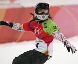 女子クロスの予選1回目を滑り終え、電光掲示板を見る藤森由香
