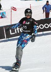 スノーボードのW杯女子パラレル大回転最終戦で、決勝トーナメント1回戦で敗れた竹内智香(22日、イタリア・バルマレンコ)