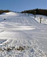 圧雪車による整備が始まったが積雪は少なく、部分的に草がのぞく忠類白銀台スキー場のゲレンデ=27日