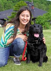 竹内智香さんと愛犬のチャンス