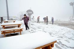 雪景色に声を弾ませ、ふわふわの雪の感触を楽しむ観光客ら(12日午前10時、大津市・びわ湖バレイ)