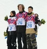 <スノーボードHP決勝>日本勢初メダルを獲得した平野(左)と平岡(右)