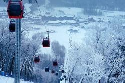 北朝鮮の国境近い吉林省白山市のスキーリゾート