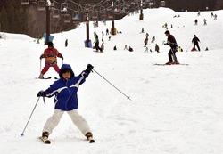 初滑りを楽しむスキーヤーたち(若桜町のわかさ氷ノ山スキー場で)