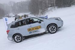 ゲレンデタクシー車両はSUVの「フォレスター」。X-MODEを使って、ゲレンデを上り下りしていた。2月11日まで開催している