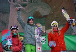 ケリー・クラーク(中央)、ハンナー・テーター(右)