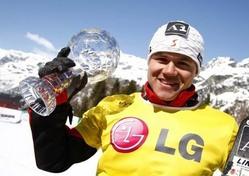 男子種目別総合を制したマルクス・シャイラー(オーストリア)。女子はリンゼイ・ジャコベリス(米国)が勝った=20日、イタリア・バルマレンコ(REUTERS)