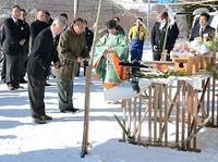 関係者が菅平高原の冬の安全を祈った祈願祭