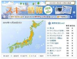 tenki.jp「スキー情報」。オープンしているスキー場もいくつか出てきている