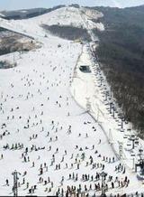 多くのスキーヤーでにぎわう九重森林公園スキー場=大分県九重町