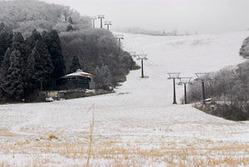 スキー場開きを迎えても積雪がほとんどなく、草などが露出しているゲレンデ=上山市・蔵王ライザワールド