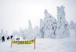 訪れる人たちの目を楽しませる森吉山の樹氷群