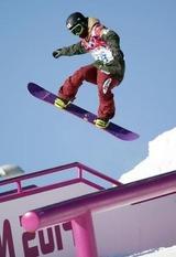公式練習で調整するスノーボード男子スロープスタイルの角野友基=ソチ(共同)