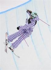 フリースタイルスキー世界選手権のハーフパイプ決勝に出場した三星マナミ=米パークシティー(共同)