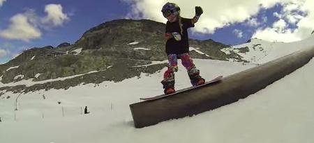 ジャッキーのスノーボードレールトリックの写真