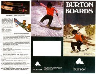 BURTONのヴィンテージ スノーボードの広告写真