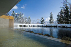 大きな池に隣接した露天風呂で心身ともにリラックス。