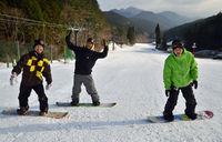 内子のスキー場オープン 愛好者ら初滑り<br>