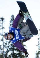 W杯スノーボード女子ハーフパイプで今季初優勝した山岡聡子選手=立石紀和撮影