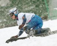 女子パラレル大回転で8位になった竹内智香=富良野スキー場
