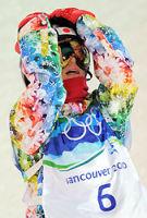 決勝の2本目最後で転倒し、頭を抱える青野=カナダ・サイプレスマウンテンで2010年2月17日、手塚耕一郎撮影