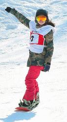 スノーボードの全日本選手権女子スロープスタイルで優勝した鬼塚雅=1日、ニセコ花園で