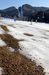 雪不足で地肌の見えたゲレンデを滑るスキー客ら=青森県大鰐町の大鰐温泉スキー場で5日午後2時28分、手塚耕一郎写す(毎日新聞)