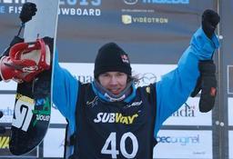 スノーボードの世界選手権スロープスタイルで優勝したローペ・トンテリ(フィンランド)=18日、ストーンハム(ロイター=共同)