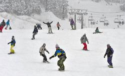 初滑りを楽しむスノーボーダーら=勝山市のスキージャム勝山で