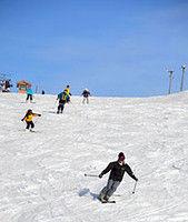 ゲレンデでスキーを楽しむ利用客ら(宮津市小田・大江山スキー場)