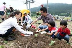 ヒマワリの苗植えを楽しむ家族連れ