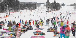 若者や家族連れらでにぎわうゲレンデ=郡上市高鷲町、鷲ケ岳スキー場