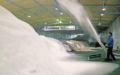 22日のオープンに向け散雪、ゲレンデづくりが進む狭山スキー場=所沢市で<br>