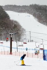 東北各地のスキー場では被災者向けのプランを打ち出すところも=岩手県奥州市の越路スキー場で