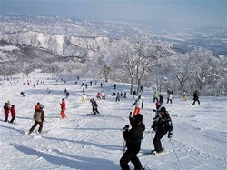長野県野沢温泉村の「野沢温泉スキー場」のゲレンデ。一面に広がる銀世界が幻想的だ(野沢温泉提供)