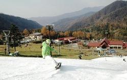 初滑りを楽しむスノーボーダー(12日、片品村の丸沼高原スキー場で)