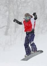 女子スノーボードクロス決勝で優勝した藤森由香=ルスツリゾート