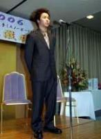 故郷での激励会に出席した中井はトリノ五輪での活躍を誓った